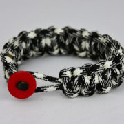 black and white camouflage paracord bracelet unity band with red button front, picture of black and white camouflage paracord bracelet unity band with red button in the front on a white background