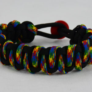 black w autism tiger stripe paracrd bracelet w red button back