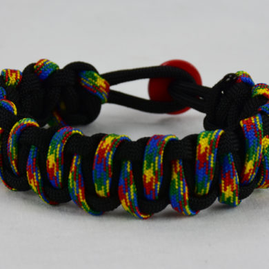 black with autism tiger stripe paracord bracelet with red button back