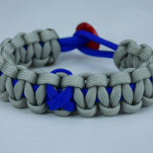 blue and grey anti bullying paracord bracelet with red button back and blue ribbon