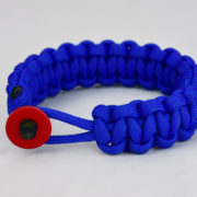 blue paracord bracelet unity band w red button front