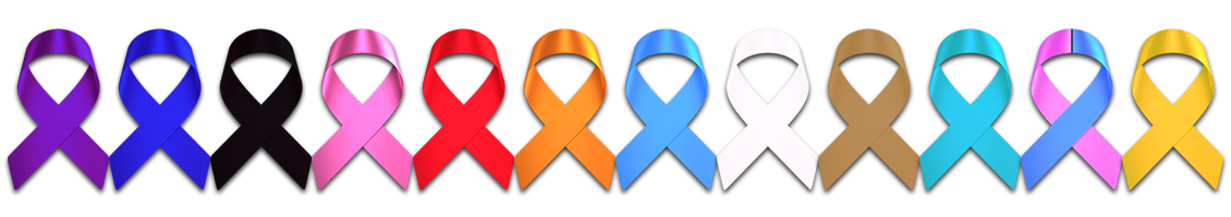 bracelets for a cause, picture of a purple blue black pink red orange light blue white gold teal pink and blue and yellow support ribbon