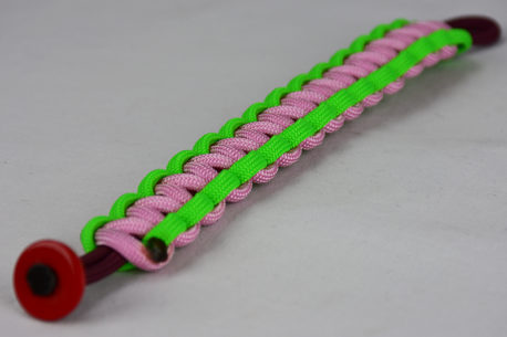burgundy neon green and soft pink paracord bracelet unity band with red button in the front corner on a white background