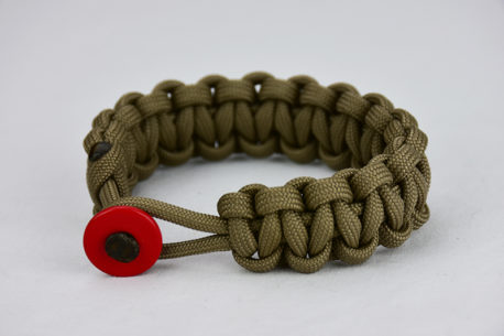 coyote brown paracord bracelet unity band with red button, picture of a coyote brown paracord bracelet with a red button fastener in the front