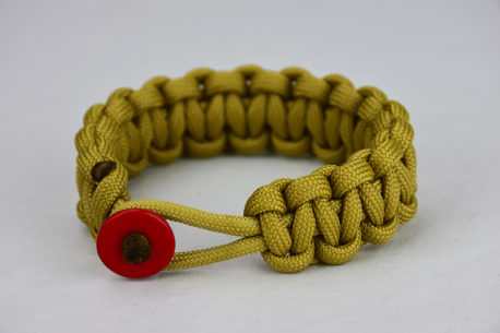 gold paracord bracelet unity band with red button, picture of a gold paracord bracelet with a red button fastener in the front
