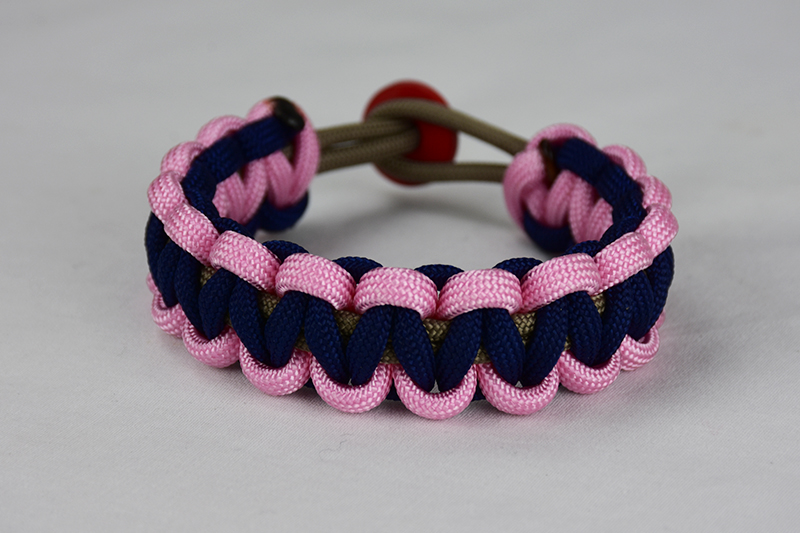 Gold Soft Pink And Navy Blue Paracord Bracelet Unity Band
