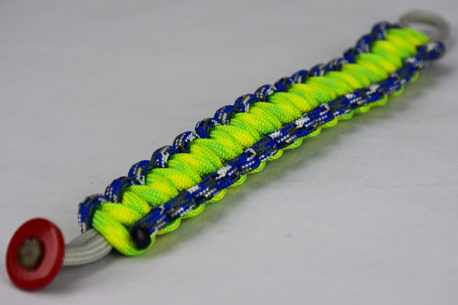 grey blue camouflage and dayglow paracord bracelet unity band w red button