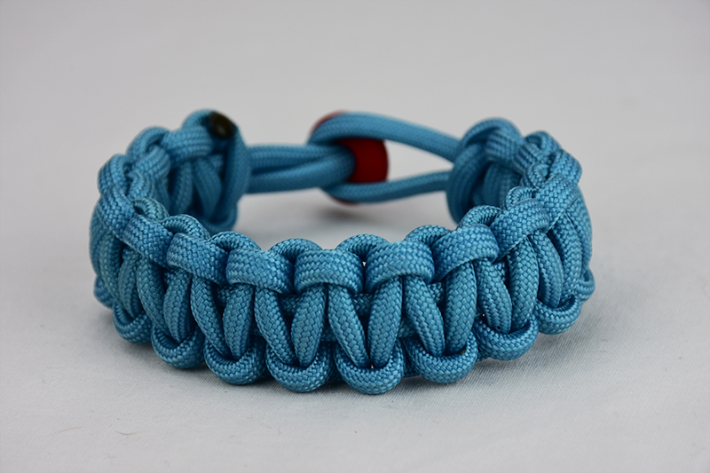 Light Blue Paracord Bracelet Unity Band W Red Button In Back