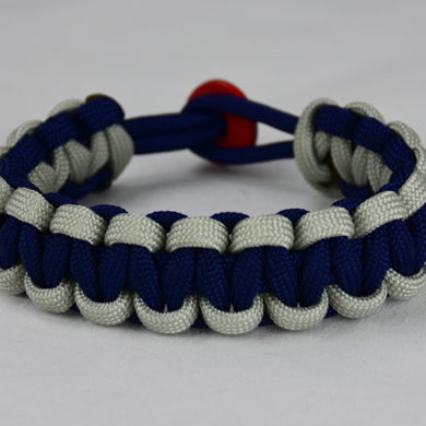 navy blue grey and navy blue paracord bracelet unity band with red button back, picture of a navy blue grey and navy blue paracord bracelet unity band with red button fastener in the back on a white background