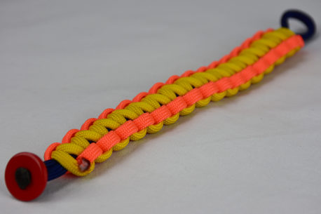 navy blue neon orange and yellow paracord bracelet unity band with red button fastener in the corner on a white background