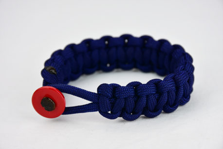 navy blue paracord bracelet unity band with red button, picture of a navy blue paracord bracelet unity band with red button fastener on a white background