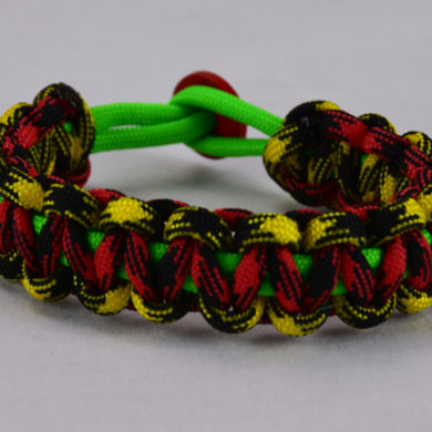 neon green black and yellow camouflage and red and black camouflage rasta paracord bracelet with red button back