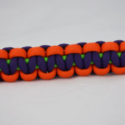 neon green orange and purple paracord unity band across the center