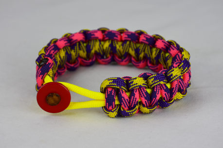 neon yellow purple and yellow camouflage pink and purple camouflage paracord bracelet with red button in the front