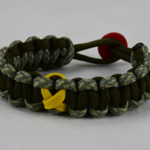 od green acu camouflage od green military support paracord bracelet with red button and yellow ribbon