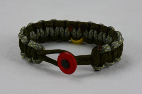 od green acu camouflage od green military support paracord bracelet with red button in front and yellow ribbon