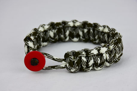 od green and white camouflage paracord bracelet unity band with red button in front, picture of an od green and white paracord bracelet unity band with red button fastener in the front on a white background