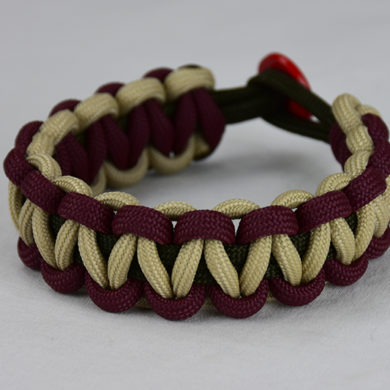 od green burgundy and desert sand paracord bracelet unity band with red button on back