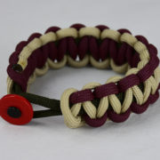 od green burgundy and desert sand paracord bracelet unity band with red button front,