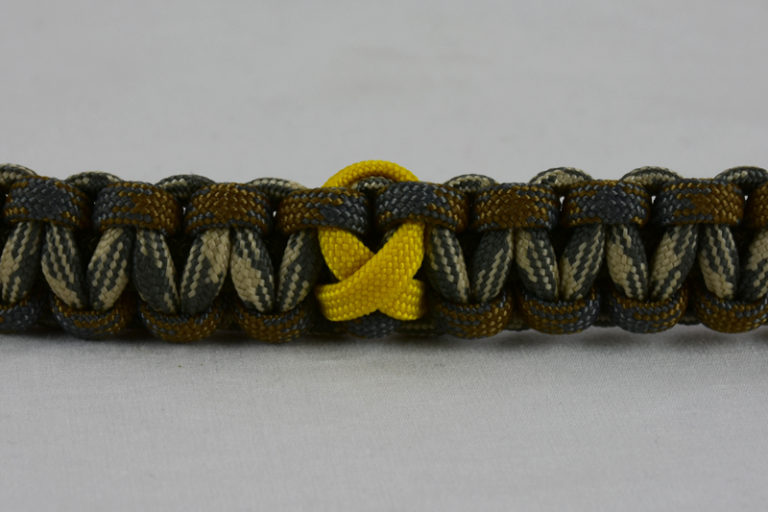 od green desert foliage camouflage desert sand foliage camouflage military support paracord bracelet with yellow ribbon in the center