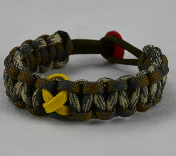 od green desert foliage camouflage desert sand foliage camouflage military support paracord bracelet with red button in back and yellow ribbon