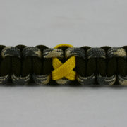 od green desert sand foliage camouflage and od green military support paracord bracelet with yellow ribbon in the center