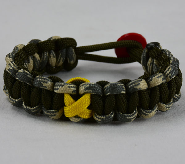 od green desert sand foliage and od green military support paracord bracelet with red button in the back and yellow ribbon