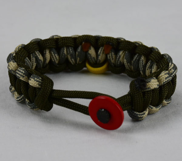 Od Green Desert Sand Foliage And Military Support Paracord Bracelet With Red On In