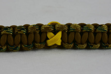 od green mulicam camouflage and coyote brown military support paracord bracelet with yellow ribbon in the center