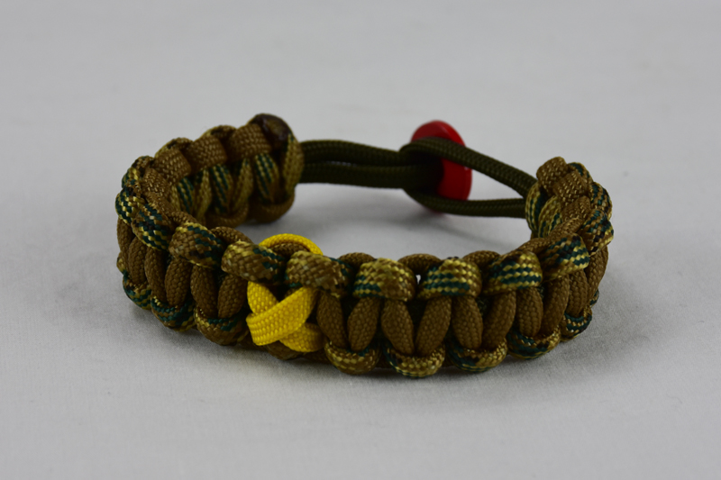 od green multicam camouflage and coyote brown military support paracord bracelet with red button in the back and yellow ribbon