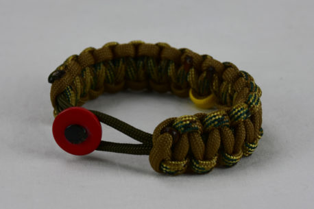 od green multicam camouflage and coyote brown military support paracord bracelet with red button fastener in the front and yellow ribbon