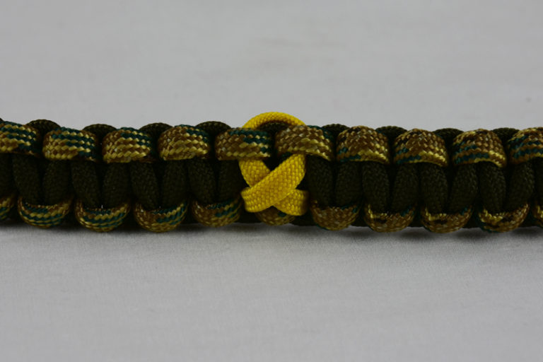 od green multicam camouflage and od green military support paracord bracelet with yellow ribbon in the center