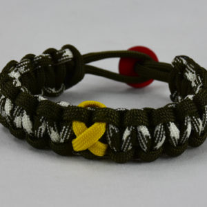 od green od green od green and white camouflage military support paracord bracelet w red button back yellow ribbon