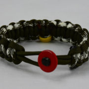 od green od green od green and white camouflage military support paracord bracelet w red button front yellow ribbon