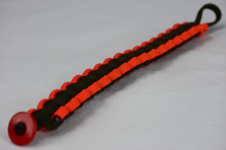 od green orange and od green paracord bracelet unity band with red button fastener in the front corner