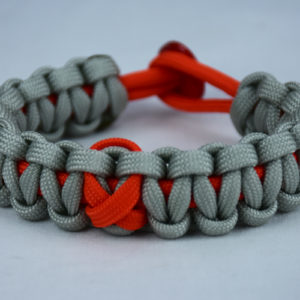 orange and grey leukemia support paracord bracelet with red button back and orange ribbon