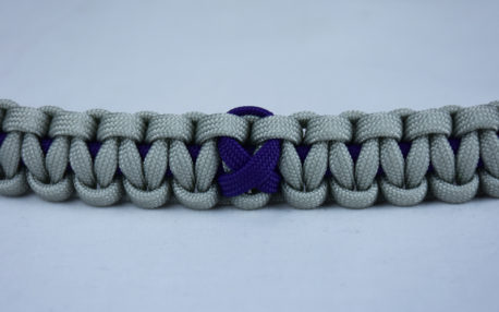 purple and grey alzheimers support paracord bracelet with purple ribbon in the center