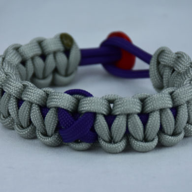 purple and grey alzheimers support paracord bracelet with red button back and purple ribbon