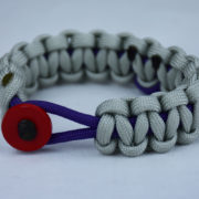 purple and grey alzheimers support paracord bracelet with red button front purple ribbon