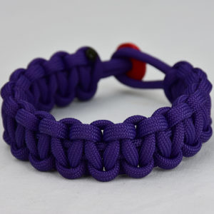 purple paracord bracelet unity band w red button back