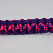 purple purple pink and purple camouflage paracord bracelet unity band across the center of a white background
