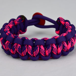 purple purple pink and purple camouflage paracord bracelet unity band w red button back