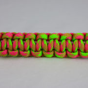soft pink pink and neon green camouflage paracord bracelet unity band