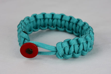 teal paracord bracelet unity band with red button back, picture of a teal paracord bracelet with red button fastener on a white background