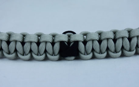 black and grey pow mia support paracord bracelet with black ribbon center