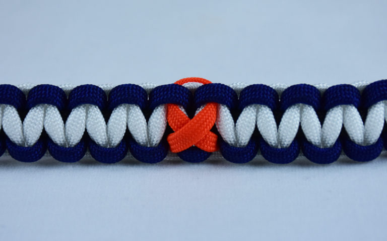 black navy blue and white leukemia support paracord bracelet with orange ribbon center