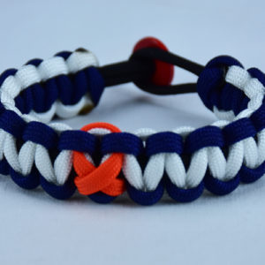 black navy blue and white leukemia support paracord bracelet with red button in the back and orange ribbon