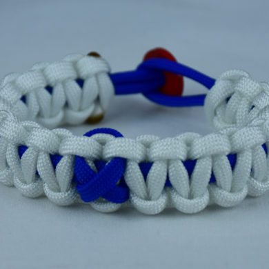 blue and white anti-bullying paracord bracelet with red button in the back and blue ribbon