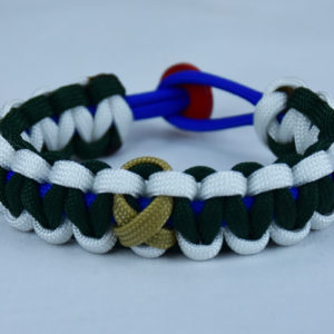 blue white and emerald pediatric cancer support paracord bracelet with red button back and gold ribbon