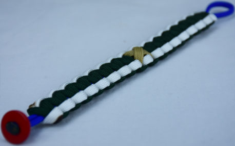 blue white and emerald pediatric cancer support paracord bracelet with red button in the corner and gold ribbon
